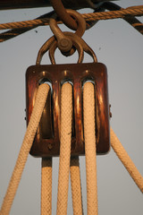 Pulley of a traditional wooden sailboat