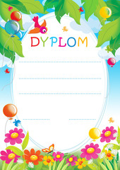 Diploma for children with balloons and flowers