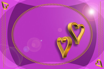 Gold Hearts 3D on the purple Blank