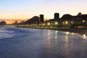 Copacabana beach, Corcovado, sea in sunset light, Rio de Janeiro