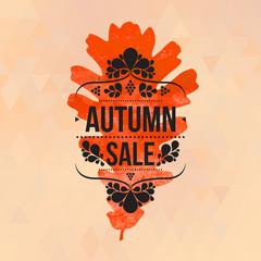 Autumn sale sign, watercolor oak leaf, typography design
