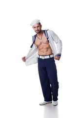 Bearded man in role-playing sailor costume