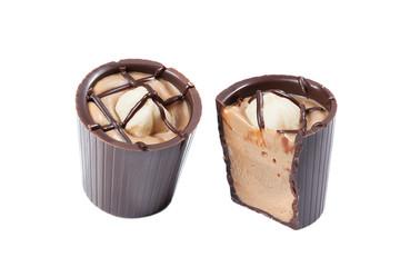Sweet made of milk chocolate, praline and hazelnut