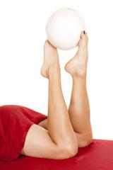 woman legs red sheet ball on feet