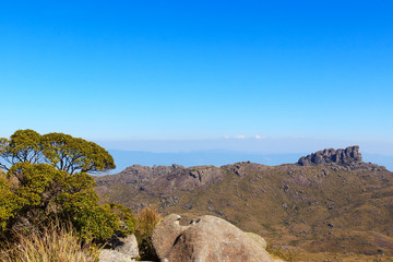 Background mountain landscape peak Prateleiras, Itatiaia, Brazil