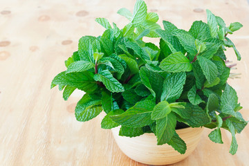Background fresh mint in bowl on wooden table