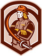 Fireman Firefighter Folding Arms Shield Retro