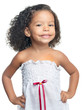 Cute small afro american girl isolated on white