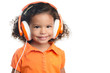 Small afro american girl with bright orange headphones