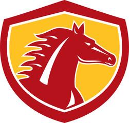 Horse Head Angry Shield Retro