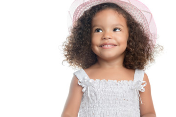 Small afro american girl wearing a pink hat