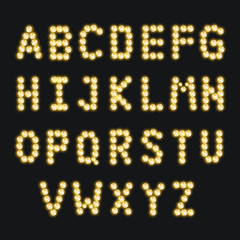 Alphabet set with diamond lamp, vector illustration