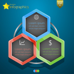 Business Infographics  hexagon design. Vector illustration.