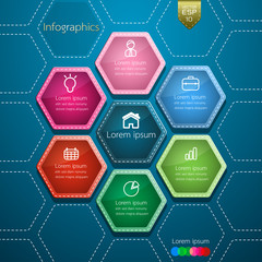 Business Infographics  hexagon style design.  Vector illustratio
