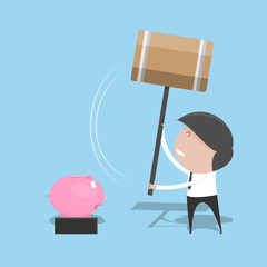 Businessman break piggy bank. vector illustration