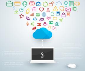 Computer laptop connections cloud computing. Concept vector illu