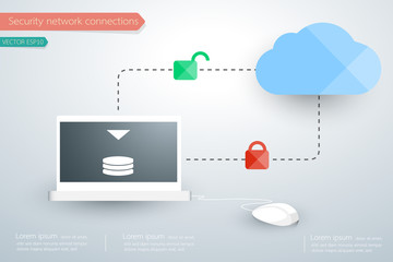 Computer laptop device security lock concept. Vector illustratio