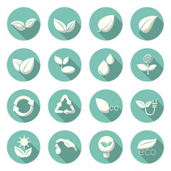 Eco Icons visual design trends color. Vector illustration