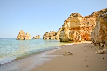Praia do Camilo, Coast with cliffs and beach, Algarve Portugal