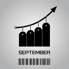 Prices rise in September - black hanging labels