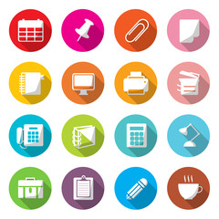 Office Equipment Circle Colorful Icons Vector.