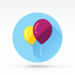 Flat style with long shadows, balloon vector icon