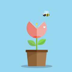 Plants are carnivorous, eating bees. concept vector illustration