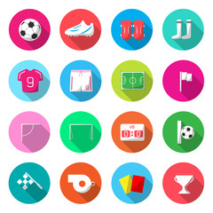 Soccer Colorful Icons Vector.