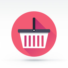 Flat style with long shadows, shopping basket vector icon