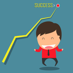 Success graph of business. Achieve the target