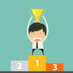 Success Winner of Businessman Goal Holding Trophy.
