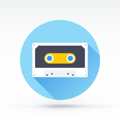 Flat style with long shadows, cassette vector icon