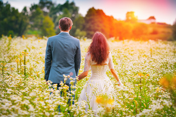 Young happy wedding couple walking in the field and holding hand
