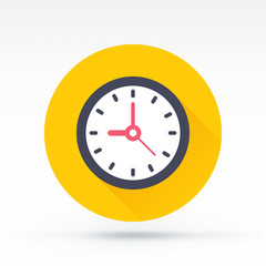 Flat style with long shadows, clock vector icon