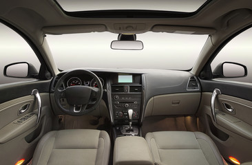 Wide angle view of modern luxury car interior