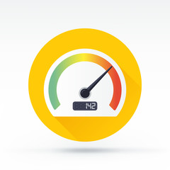 Flat style with long shadows, speedometer vector icon
