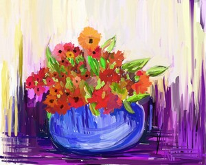 Flower Art Canvas, Abstract Oil Painting (Raster Art)