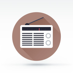 Flat style with long shadows, radio vector icon