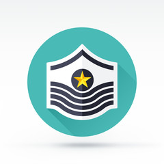 Flat style with long shadows, soldier rank vector icon