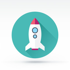 Flat style with long shadows, rocket vector icon