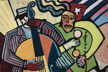 Colourful wall painting in Havana, Cuba