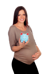 Attractive girl pregnant with a blue piggy-bank