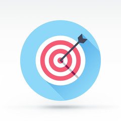 Flat style with long shadows, target & arrow vector icon