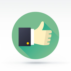 Flat style with long shadows, thumbs up vector icon