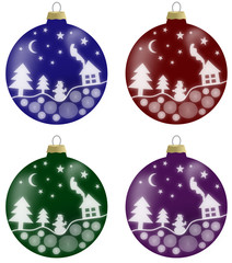 Illustration of christmas balls with winter scenery in 4 colours