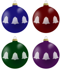 Illustration of christmas balls with bells in 4 colours