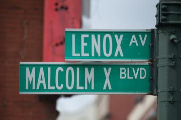 Malcolm X blvd street sign in Harlem New York City