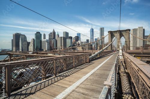 New York City Brooklyn Bridge and Manhattan buildings