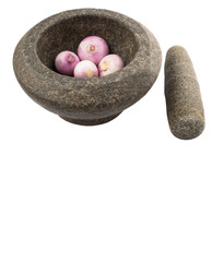 Stone Mortar And Pestle With Onions