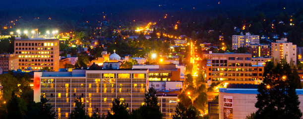 Eugene skyline at night